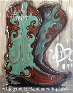 Boot Love - Austin, TX - Lakeway Painting Class - Painting with a Twist
