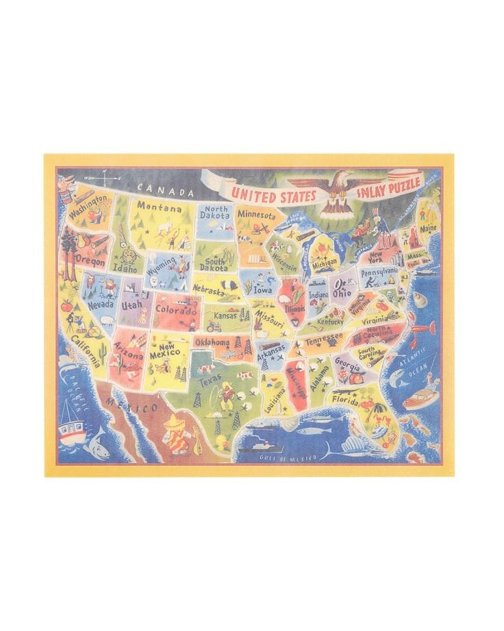 【ENTRESQUARE マルチ UNAITED STATESプレイスマット】 アメリカ合衆国の地図をイラストで表現したランチョンマット♪ アメリカ旅行に持って行く?