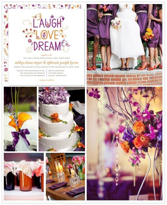 Orange and Purple Wedding Inspiration Board by angelina.anthony.52