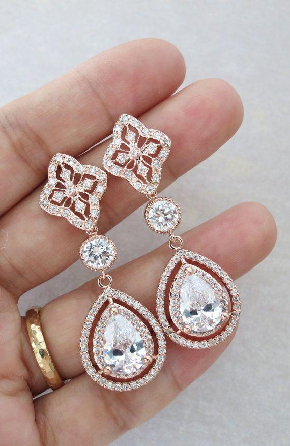 Rose Gold Teardrop Deluxe Cubic Zirconia Teardrop Earring - vintage halo style earrings, bridal gifts, drop, dangle, pink rose gold weddings,