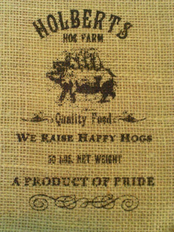 "Natural Burlap Bag / Sack HOLBERTS HOG FARM Design in Black 20"" x 12"" Crafts"