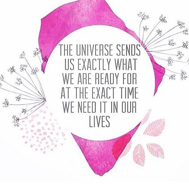 The universe sends us exactly what we are ready for at the exact time we need it in our lives.