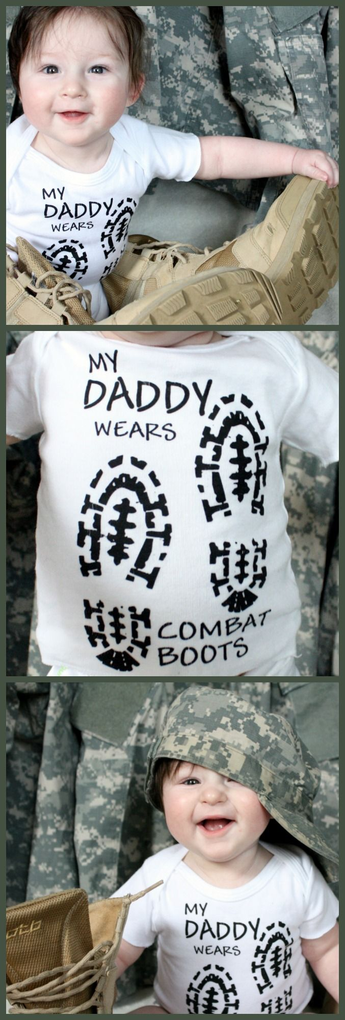 My Daddy Wears Combat Boots   military baby photography idea: either grab a t-shirt like this or download an SVG file and make your own!   military kids   army baby #ad