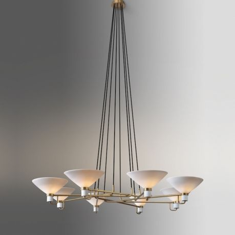 The Lauriston Circular Chandelier is machined from solidbrass. All parts are hand polished and patina'd. The un-glazed porcelain shade is made by hand.  FINISHES: Shown in Lite Antique Bronze (standard). Also available in Oil Rubbed Bronze, Polished Nickel and Satin Nickel. Please note: All finishes may vary slightly.  SHADE: Unglazed Porcelain. Due to the hand-made nature of these porcelain shades, the thickness, height and texture will vary slightly.&...