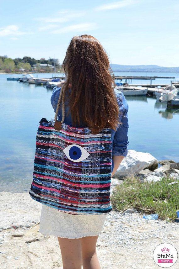 To Mati Kilim Tote Bag Large - Boho Chic Style - Beach Boho Bag