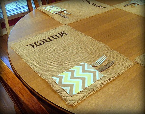Burlap Placemats Set of 4 Chevron Napkin/ by TheBirchTreeShop, $36.00