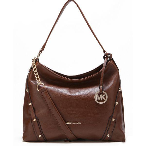 Michael Kors Leigh Stud Large Brown Shoulder Bag