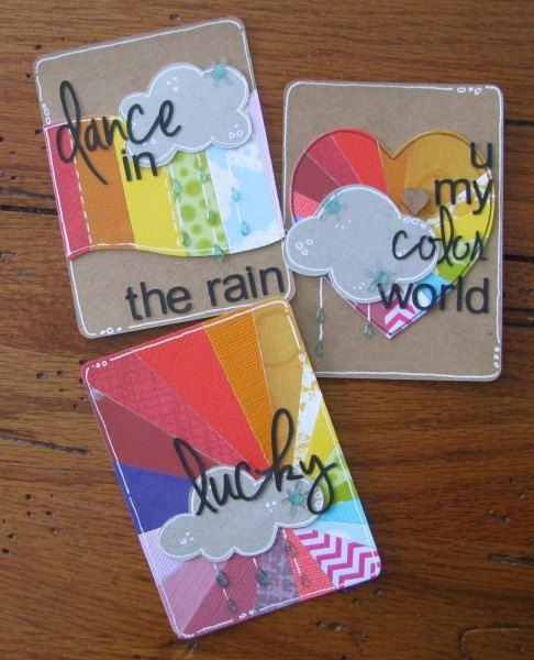 Color Me Rainbow March Project Life cards  Set of 3  by FandHMom, $2.00: