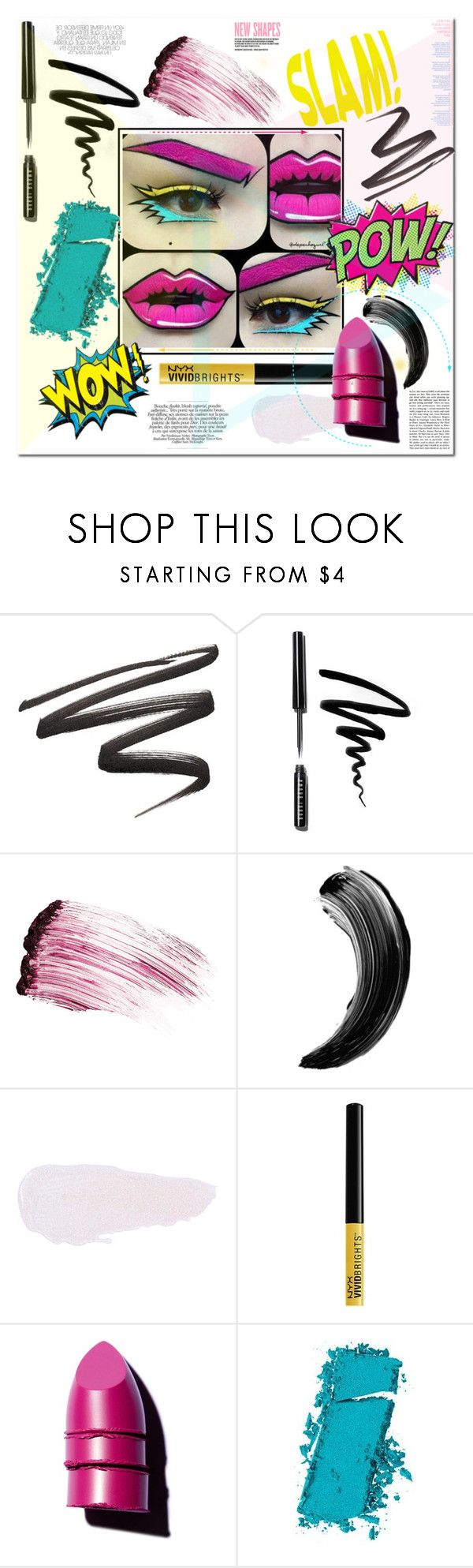"""""""Comic Book Makeup Fun"""" by esellevee ❤ liked on Polyvore featuring beauty, Bobbi Brown Cosmetics, Kevyn Aucoin, Anastasia Beverly Hills, NYX, Maybelline, Retrò and Charli"""