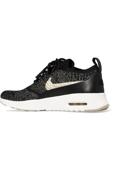 Nike - Air Max Thea Ultra Leather-trimmed Flyknit Sneakers - Black - US