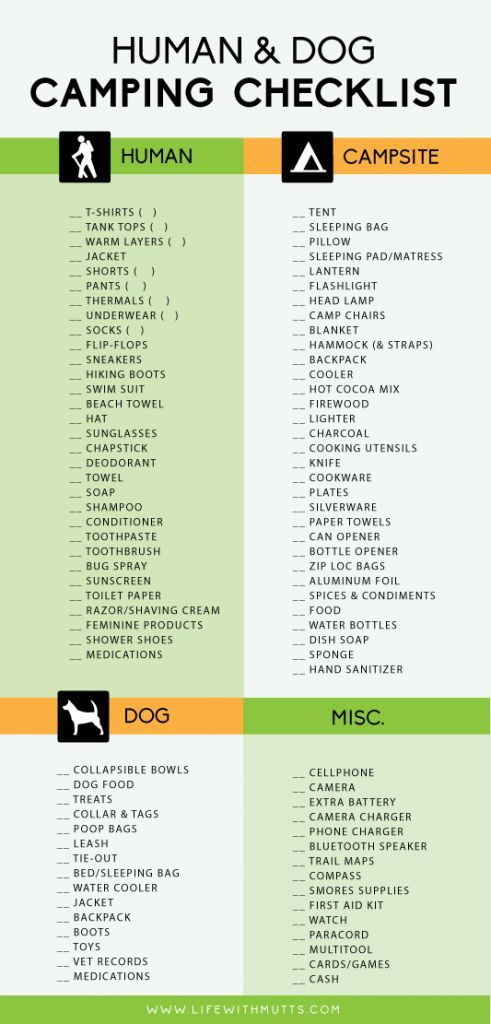 Dog Camping Checklist http://campingtentlovers.com/tent-camping-tips/