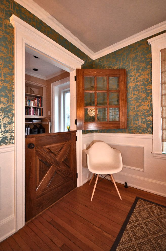 wall pet door Dining Room Eclectic with asian wallpaper chair rail