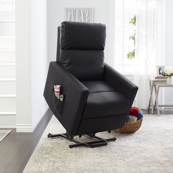 Power Recliner Chair Lift Assist Wall Hugger Renu Leather Recline Black Lazy Boy #PORTFOLIO #Transitional