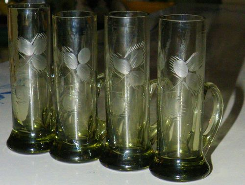 4 Pc Vintage Etched Handled Pattern Thistle Cordial Shot