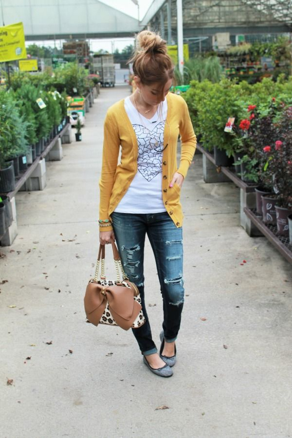 It's Finally Feeling Like Fall! {Fashion, Floss and Lip Gloss blog} mustard target cardigan, destroyed denim american eagle jeggings, herringbone ballet flats, wear the paint tesselated heart tee, betsey johnson bow leopard print purse handbag, topknot, messy topknot, blogger style, fall outfit ideas, autumn outfit ideas, fall autumn outfit inspiration, casual fall outfit, fall style