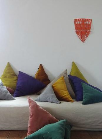 Traingular cushions from Georges    http://www.georges-eshop.com/#!   via Kickcan & Conkers