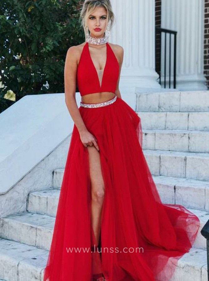 4bde6b6264 Sexy Two-piece Red Tulle Beaded Halter Thigh-high Slit Long Prom Dress