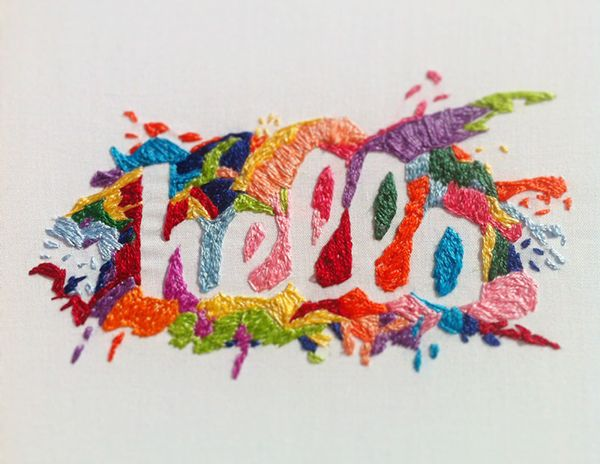 lettering embroidery on paper