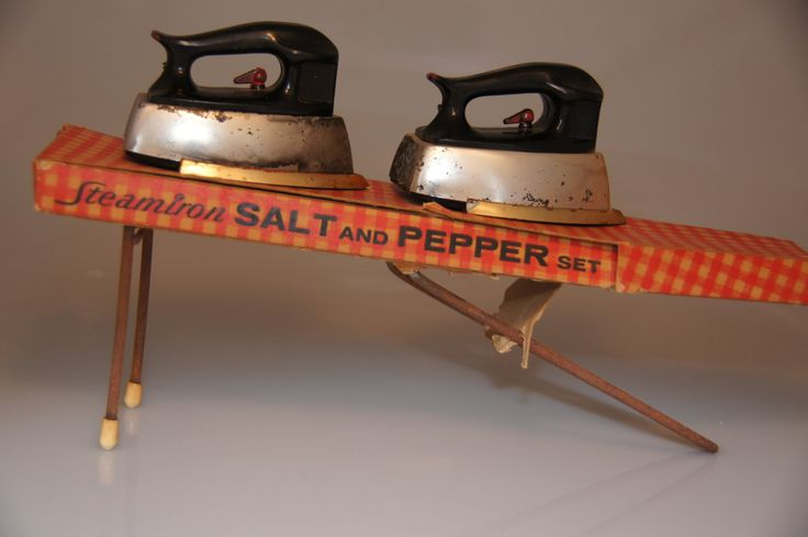 Ironing board salt and pepper shakers by Starke Designs, package design by Alan Berger, 1950s collectible, made in USA, mid-century kitchen kitsch