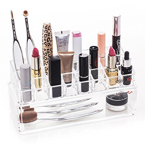 Bathroom Organization: Choice Fun Multifunctional Acrylic Makeup Organizer Vanity Accessories Organizer with 24 Lattices ** You can find out more details at the link of the image.