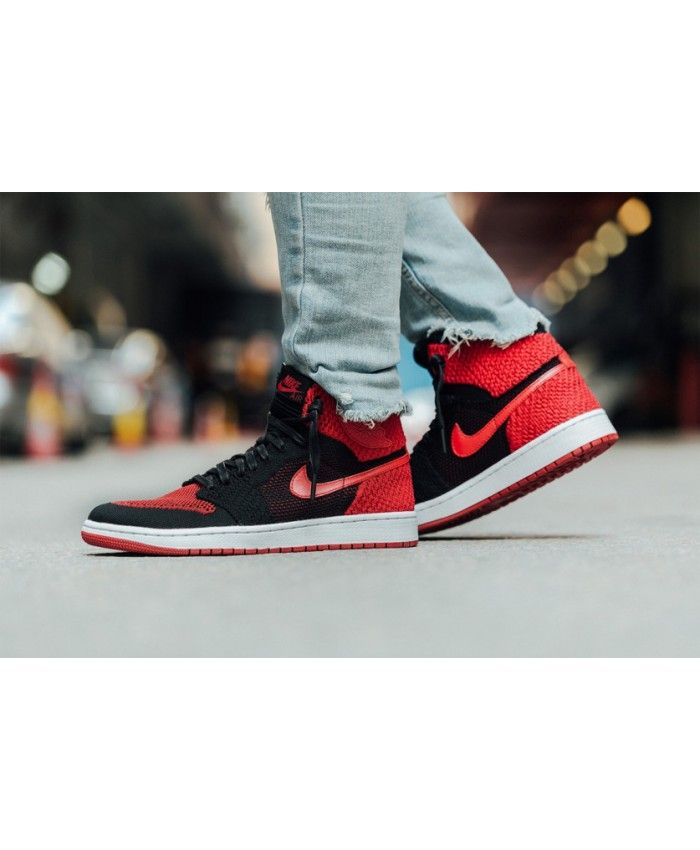 promo code 62b3e 8a496 Nike Air Jordan 1 High Flyknit Banned White Black Red Trainer UK
