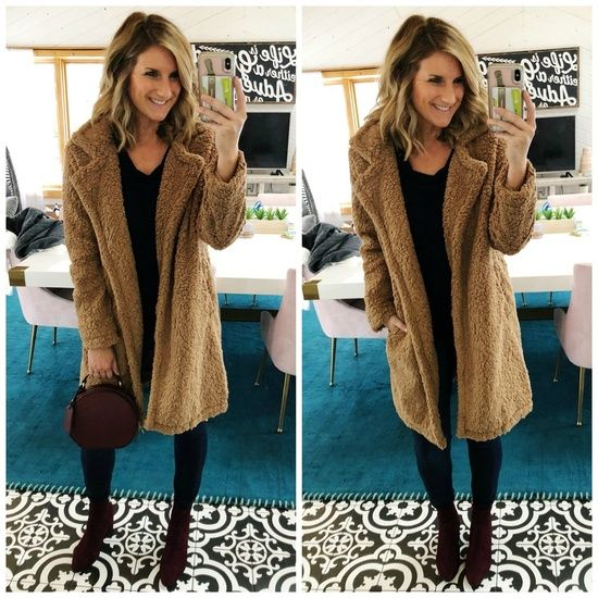 021cbd0992e5 Winter Fashion    Coatigan    How to Style a Coatigan    How to Style  Burgundy Booties    Faux Fur Coat    Teddy Coat    What to Wear with a  Teddy Coat ...