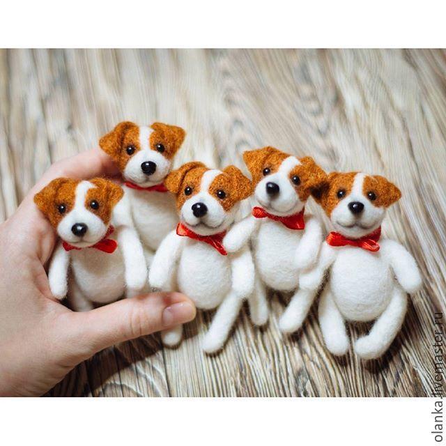 Купить Тедди собачка Джек рассел терьер с неподвижными лапками - собака из шерсти