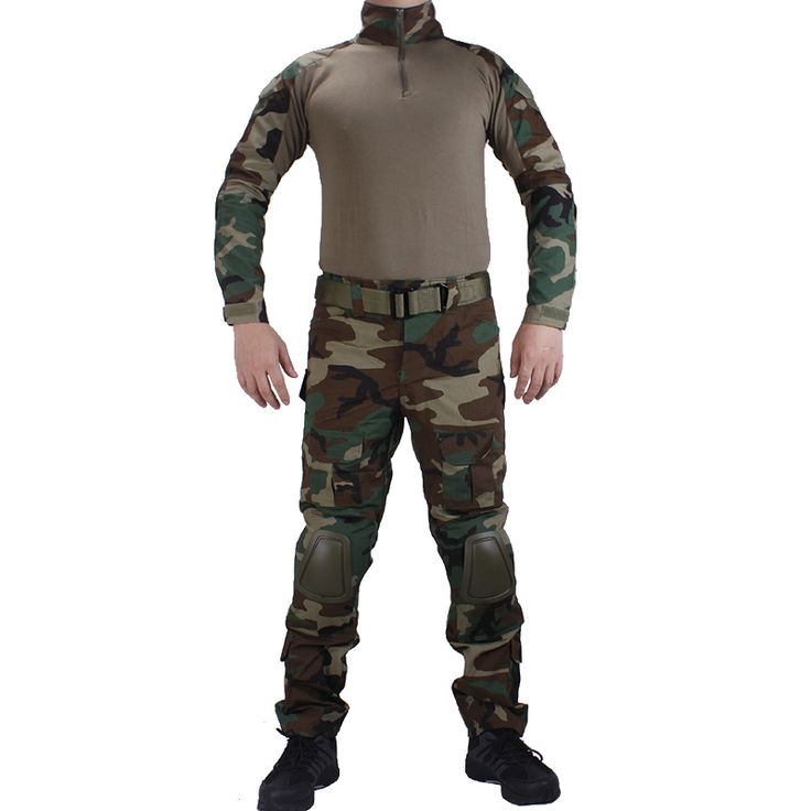 Camouflage BDU Woodland Combat uniforms shirt with broek and elbow & knee pads militaire game cosplay uniform ghilliekostuum