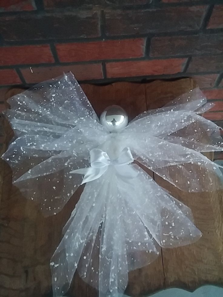 Angel, deco mesh angel, tree ornament,Christmas decor by SageSensations on Etsy
