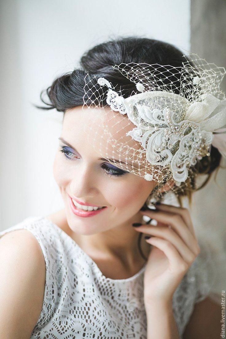 Wedding hat / Шляпка с вуалью Ваниль - бежевый, вуалетка, вуалетка на свадьбу, свадебная вуалетка, белая вуалетка