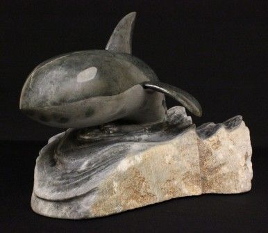 Beautiful One Of A Kind Breaching Whale Stone Carving #Art #Canada #Kitigan | Kitigan.com