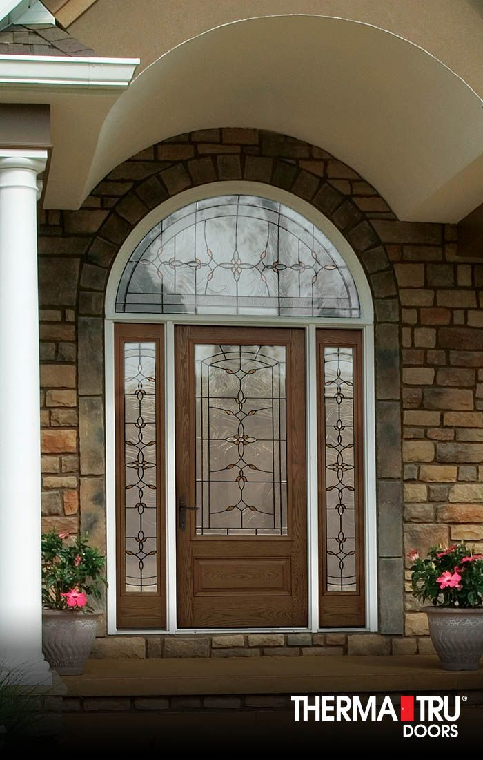 Therma-Tru Classic-Craft Oak Collection fiberglass door with Bella decorative glass. & 8 best HOME // Garage u0026 Doors images on Pinterest | Carriage doors ...
