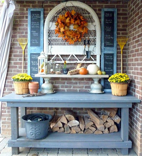 Outdoor potting table / firewood holder