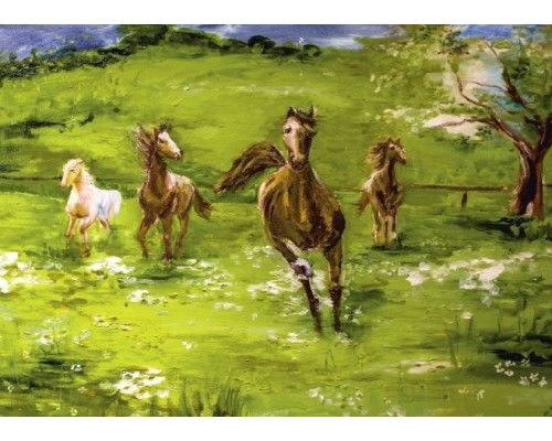 Postcard Horses in the meadow