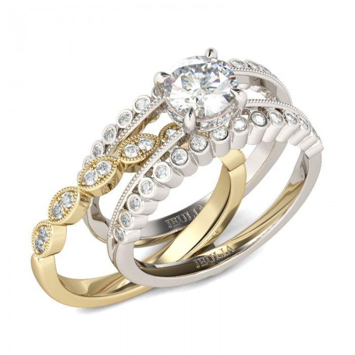 Jeulia Interchangeable Milgrain Two Tone Round Cut Created White Sapphire Wedding Set - Jeulia Jewelry