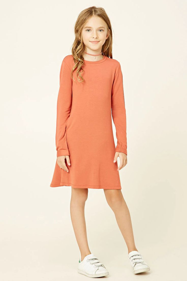 Forever 21 Girls - A knit swing dress featuring long cuffed sleeves, a round neckline, and a flared hem.