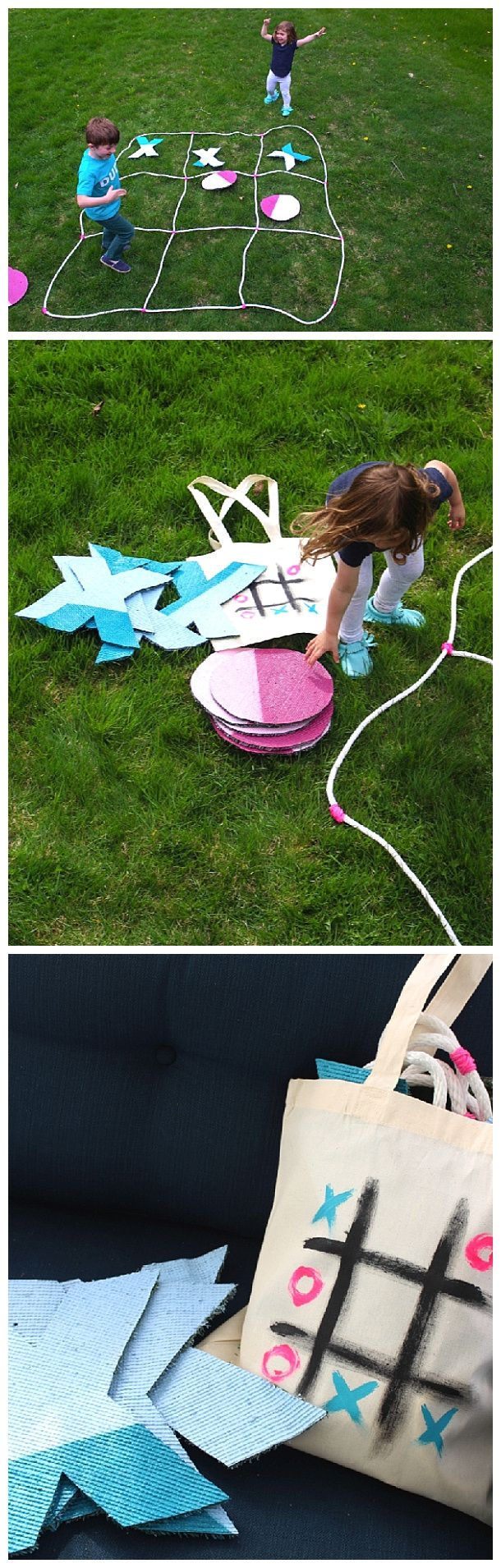 DIY Projects - Outdoor Games - Giant Do it Yourself Tic Tac Toe Game with Storage Bag Tutorial via Cloudy Day Gray