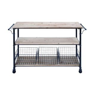 Metal and Wood 3 Basket Utility Cart - Free Shipping Today - Overstock.com - 19026129 - Mobile