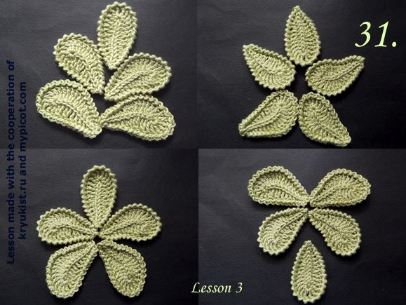 MyPicot | Free crochet patterns Irish Crochet tutorial. Lesson 3 of 6. The Irish lace and freeform often use the motif leaf. It is good to use for forming branches or lay figure ornament. It's simplicity and the way of crocheting can change the direction of the bending of the leaf, which in turn allows to make any conceived pattern.Let us consider how to crochet the simple straight leaf