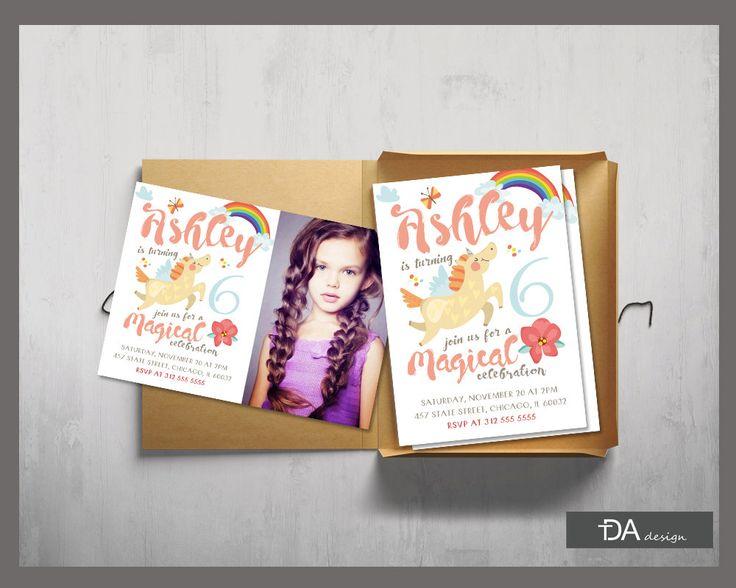 Rainbow Unicorn Invitation, Gold Unicorn Birthday Invitation, Rainbow Birthday Invitation, Girl Birthday Invitation, DIGITAL FILE by TDADesign on Etsy