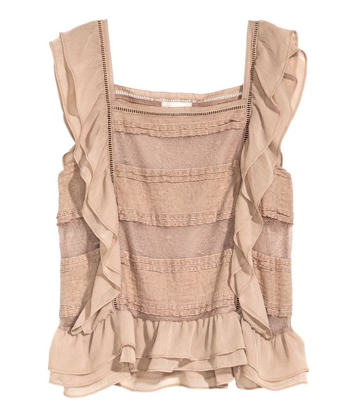 Sleeveless blouse in lace with hemstitch embroidery and chiffon ruffles. | H&M Pastels