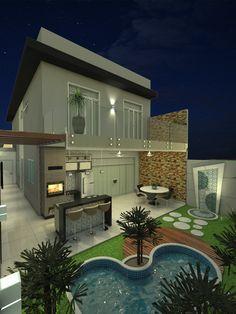 Ct 0009 projeto planta casa sobrado moderno 8x25 3 for Casa moderna 8