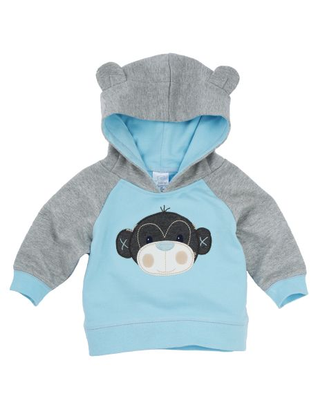 A fun addition to his wardrobe, this hoodie has a monkey face on the front, a hood with ears and rib detailing.