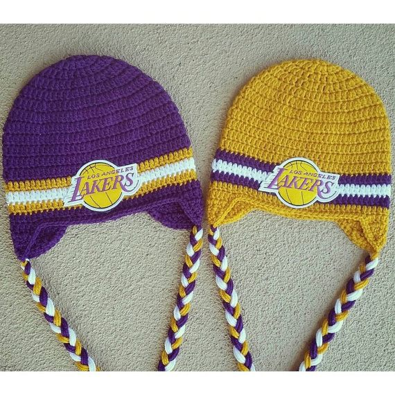 LA Lakers  basketball  gold and purple  crochet hat beanie  hooked on Layla   Hey, I found this really awesome Etsy listing at https://www.etsy.com/listing/218224184/la-lakers-beanie-with-or-without-ear