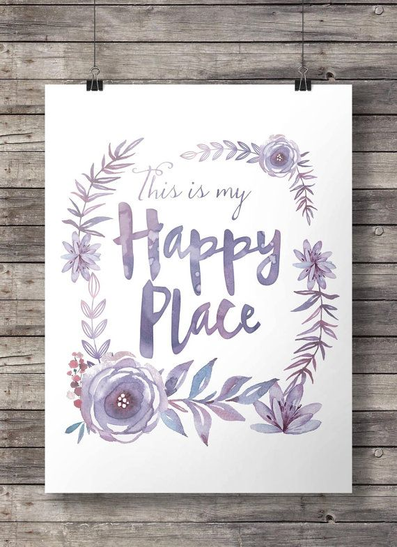 Happy place art print Watercolor flowers wreath purple This is my happy place flowers wreath print Printable wall art decor