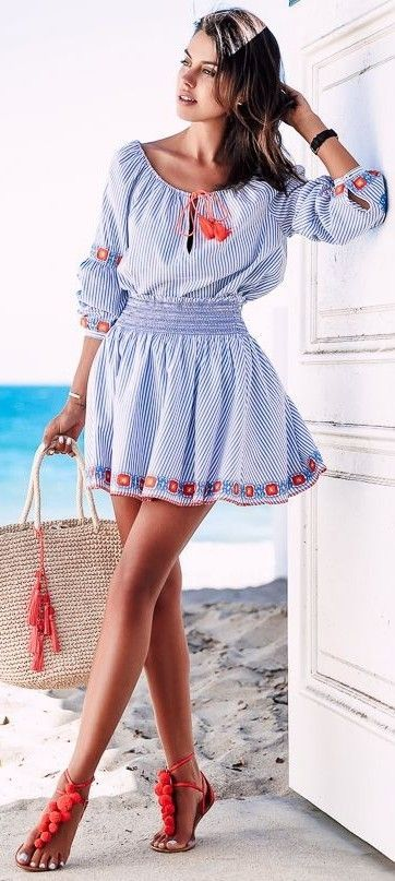 #summer #classy #outfits   Stripe Beach Dress