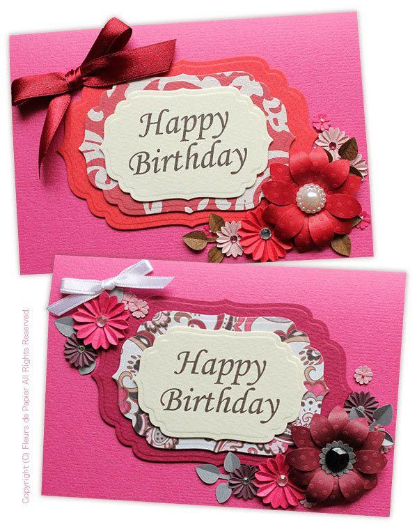 $Fleurs de Papier ~クラフトパンチや花紙で作る立体のお花いろいろ~-クラフトパンチのお花でバースデイカード