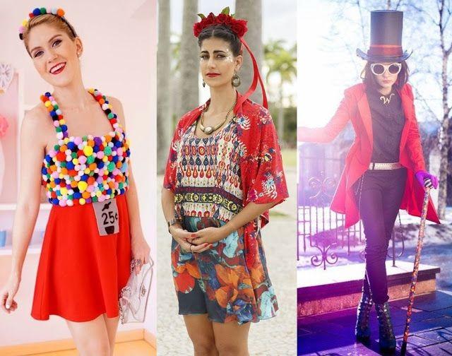 Fantasia improvisada para o carnaval. Fantasia de baleiro, fantasia de Frida Kahlo, Fantasia Willy Wonka