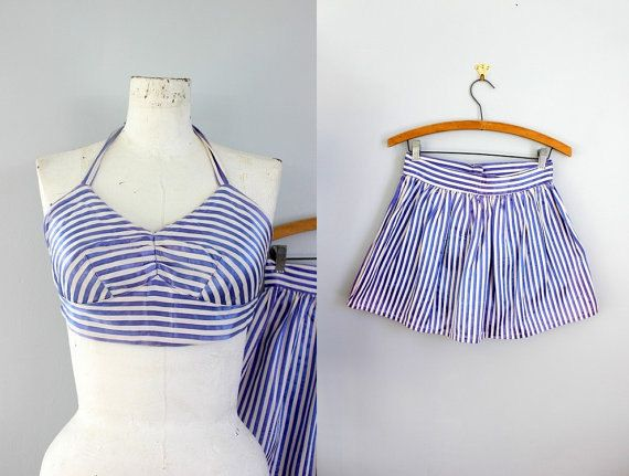1940s nautical blue and white stripe satin beachwear.