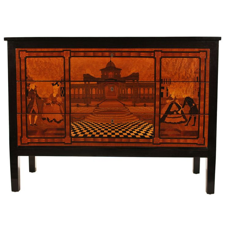 Italian Marquetry Commode Chest With Architectural Landscape Scene